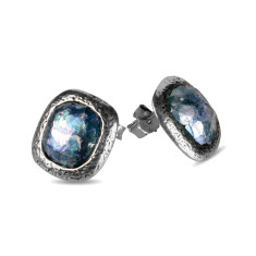 Aurelia dichroic Ancient Roman glass sterling silver stud earrings