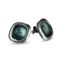 Aurelia Ancient Roman glass sterling silver stud earrings