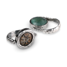 Alexandria sterling silver flip ring with Ancient Roman glass & Widows Mite coin