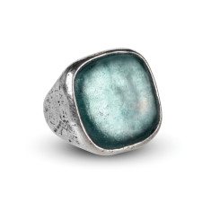 Aurelia large Ancient Roman glass sterling silver ring