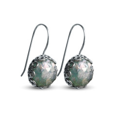 Valentina Dichroic Ancient Roman glass sterling silver drop earrings
