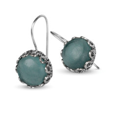 Valentina Ancient Roman glass sterling silver drop earrings