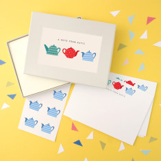Personalised teapots notecards writing set