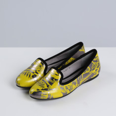 A.M.T graffiti leather flats
