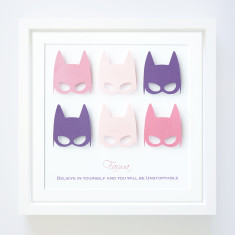Personalised Superhero Girls' Paper Art Frame