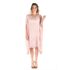 Fringe Trim Poncho - Blush