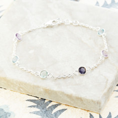 Sweetie station bracelet with amethyst mix in silver