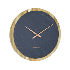 London Clock Company Carbon Solid Acacia Wood / Slate Inlay Wall Clock 35cm