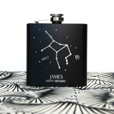Star Constellation Matte Black Hip Flask