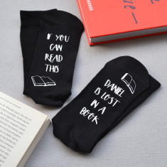 Lost in a book personalised socks