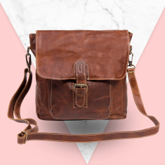 Leather Across Body Tote Handbag/Laptop Bag