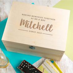 Personalised 'Mr And Mrs' Modern Script Keepsake Box