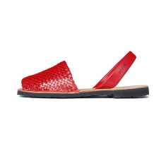 Fornells braided leather sandals in signal red