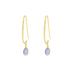 Pebble Hook Earrings With Tanzanite