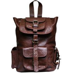 Unisex 13 inch leather backpack in tan