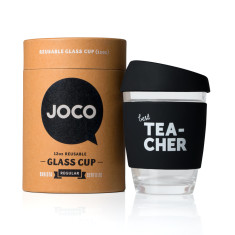 Black best tea-cher reusable glass cup (various sizes)