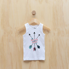 Personalised arrow scroll singlet in blue or pink