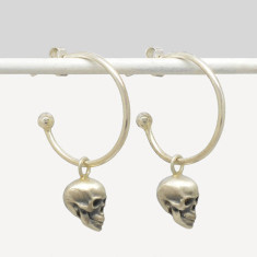 Calvariam Skull Hoop Earrings in Sterling Silver