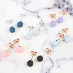 Colourful Rubber Ball Stud Earrings