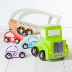 Personalised Wooden Green Toy Car Transporter