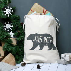 Personalised Polar Bear Name Christmas Sack