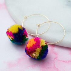 Multicolour pompom hoops