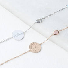 Personalised Hammered Disc and Gem Bracelet