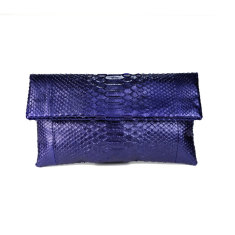 Metallic amethyst python leather classic foldover clutch bag