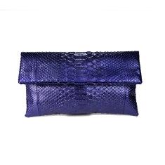 Metallic amethyst python leather classic foldover clutch bag