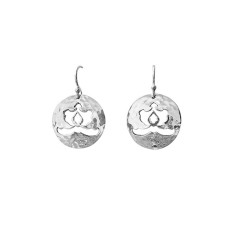 Ottoman disc drop earrings in sterling silver