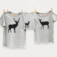 Family deer t-shirt trio set for dad and mum and child