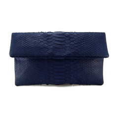 Midnight blue python leather classic foldover clutch