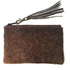 Pony satchel with tassel in dark brown