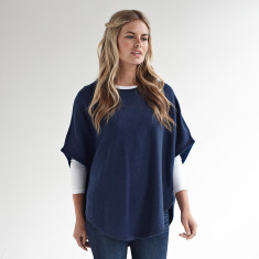 Reversible cotton cashmere poncho in navy & hoxton blue