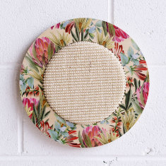 Wall hanging cat scratcher with floral print