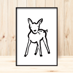 Little fawn children's art print (more colours)