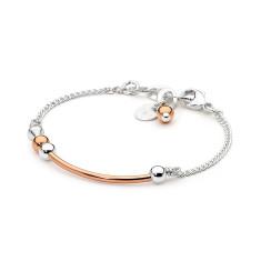 Rose gold fill and sterling silver tube bracelet