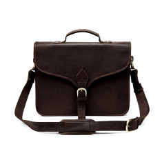 TheCompanion Leather Thin Briefcase in Dark Brown - 16