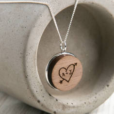 Personalised Carved Heart Pendant Necklace