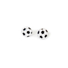 A small world black Soccer Ball stud earrings