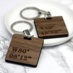 Set Of Two Personalised Coordinate Key Rings
