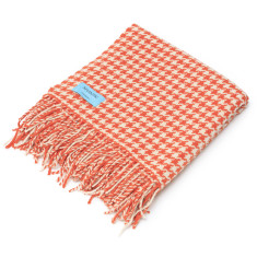 Orange Houndstooth Throw