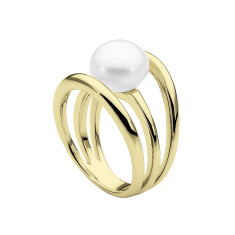 Three Band White Pearl Ring (Yellow Gold)