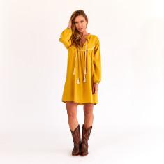 Smock dress in mustard linen
