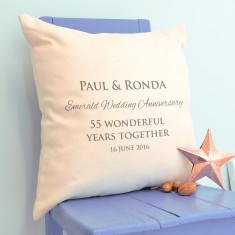 Personalised Emerald Wedding Anniversary Cushion