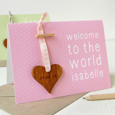 Personalised New Baby Heart Keepsake Card