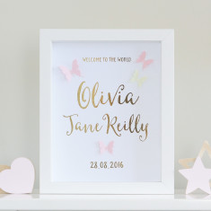Personalised Gold Foil Paper Art Butterfly Birth Announcement Frame