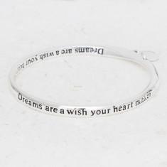 Dreams are a wish heart charm silver bangle