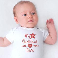 Personalised My First Christmas Short Sleeve Onesie
