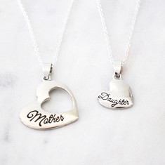 Mother and Daughter Heart Necklace Set